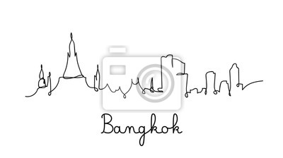 Bangkok city skyline in one line style