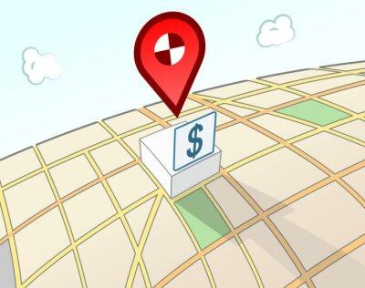 Bank 3D-Standortzeichen