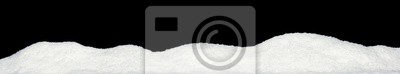 Sticker Banner of sparkling fuffy white snow hills isolated on black