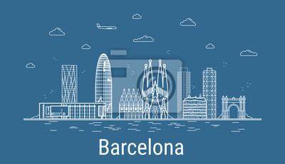 Barcelona city, Line Art Vector illustration with all famous towers. Linear Banner with Showplace. Composition of Modern buildings, Cityscape. Barcelona buildings set.