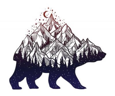 Sticker Bären- und Nachtwaldberglandschaft, Doppelbelichtung, Tätowierungskunst der wild lebenden Tiere, Fantasiestil. Vektor lokalisierte Illustration.
