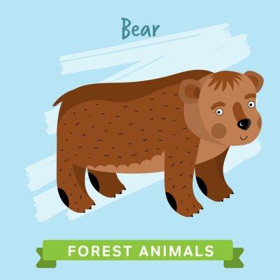 Sticker Bärenraster. Wild- und Waldtiere. Cartoon Zeichen Illustration. Lustiges Tier.
