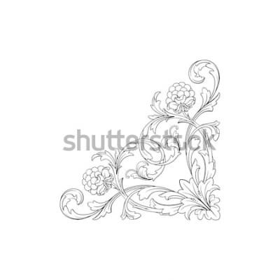 Sticker Barocke Verzierung mit mit Filigran geschmücktem im Vektorformat für Designrahmen, Muster. Gezeichnetes Victorian- oder Damastflorenelement der Weinlese Hand. Gravierte Schwarzweiß-Tuschekunst.