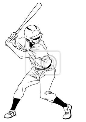 Baseball-Spieler bereit Streik, Illustration, Logo, Tinte, schwarz und weiß, Kontur, isoliert auf einem weißen