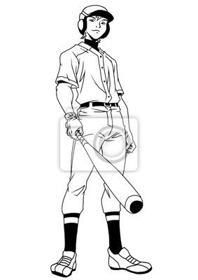 Baseball-Spieler lächelnd, Illustration, Logo, Tinte, schwarz und weiß, Kontur, isoliert auf einem weißen