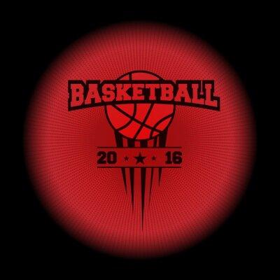 Sticker Basketball, ein Sport-Logo. Das Emblem erscheint aus der Dunkelheit. Vervollkommnen Sie auf Ihrem schwarzen Hemd! Vektor
