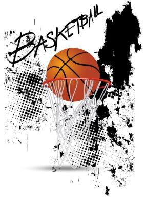 Sticker basketball hoop on white grunge background