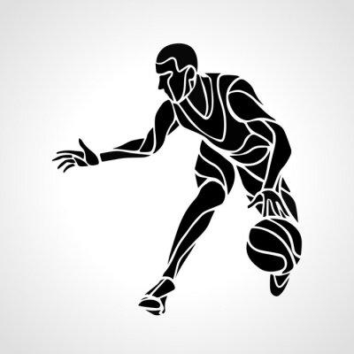 Sticker Basketball-Spieler abstrakte Silhouette
