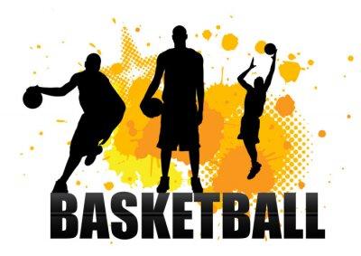 Sticker Basketball-Spieler in Akt mit Grunge-Hintergrund