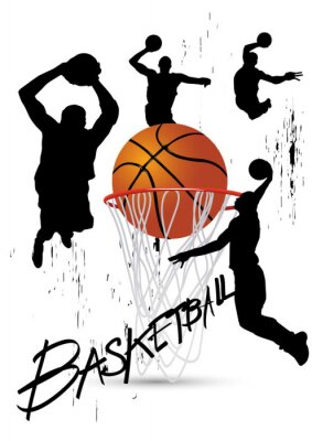 Sticker Basketball-Spieler in Stellung springt auf weißem