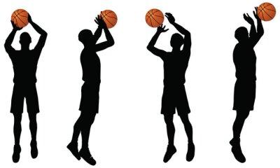 Sticker Basketball-Spieler Silhouette Sammlung in Position schießen