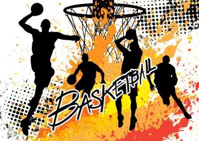 Sticker Basketball-Spieler-Team auf weißem Hintergrund Grunge