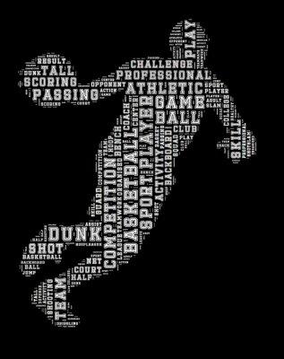 Sticker Basketball-Spieler Wort Wolke, Basketball-Typografie Hintergrund