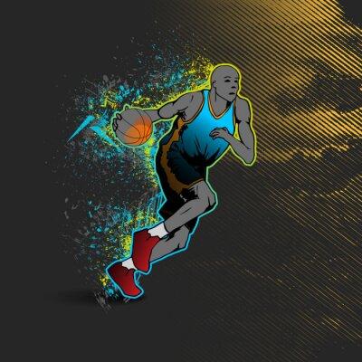 Sticker Basketballspieler dribbelt den Ball