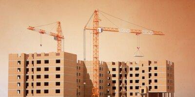 Bau eines Backsteinhauses. Baukräne. 3D Modellierung