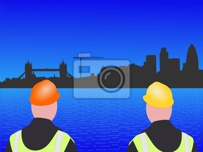 Bauarbeiter und London Skyline Illustration