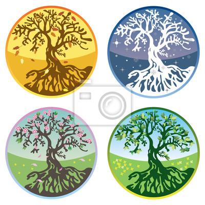 Baum in vier Jahreszeiten im Vektor