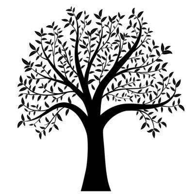 Sticker Baum mit Blättern Vektor