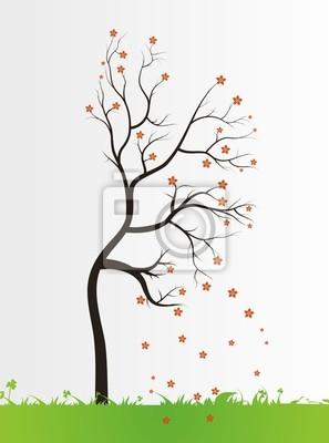 Baum mit Farbe Blätter auf weißem Hintergrund