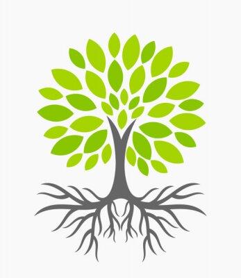 Sticker Baum mit Wurzeln