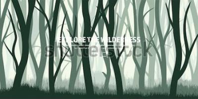 Sticker Bäume gesetzt. Wilder Kiefernwald, Naturhintergrund. Wood.Vector Illustration.Banner. Dunkelgrüner Baum. Landscape.Grass, Wiese.