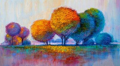 Sticker Bäume, Ölgemälde, künstlerischer Hintergrund