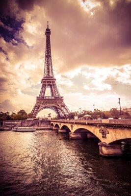 Sticker Beautiful Eiffel Tower in Paris France under golden light