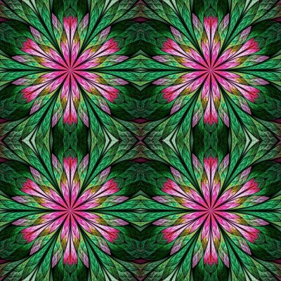 Sticker Beautiful floral pattern in stained-glass window style. Green, Pink. You can use it for invitations, notebook covers, phone cases, postcards, cards, wallpapers and so on. Artwork for creative design