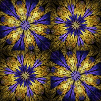 Sticker Beautiful floral pattern in stained-glass window style. Purple, Gold. You can use it for invitations, notebook covers, phone cases, postcards, cards, wallpapers and so on. Artwork for creative design