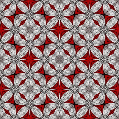 Sticker Beautiful floral pattern in stained-glass window style. White, Red. You can use it for invitations, notebook covers, phone cases, postcards, cards, wallpapers and so on. Artwork for creative design