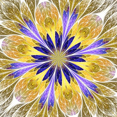 Sticker Beautiful fractal flower in stained-glass window style. Purple, Gold. You can use it for invitations, notebook covers, phone cases, postcards, cards, wallpapers and so on. Artwork for creative design