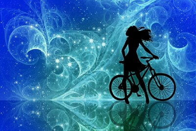Sticker Beautiful girl silhouette and bicycle on fantasy sky stars. Young woman in dress with long curly hair standing with bike on bright abstract space background.