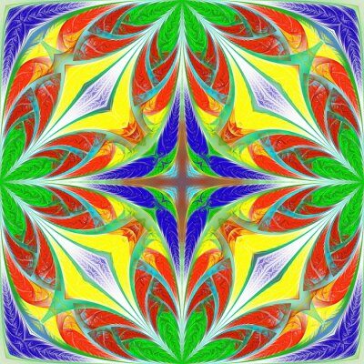 Sticker Beautiful multicolored fantasy pattern. You can use it for stained-glass window, tile, mosaic, ceramic, notebook covers, phone case, postcards, cards, wallpapers. Artwork for creative design, art.