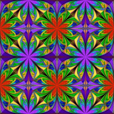 Sticker Beautiful multicolored flower pattern. You can use it for stained-glass window, tile, mosaic, ceramic, notebook covers, phone case, postcards, cards, wallpapers. Artwork for creative design, art.