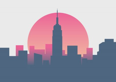Sticker Beautiful New York sunrise minimal sunrise