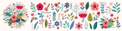 Sticker Beautiful romantic flower collection with roses, leaves, floral bouquets, flower compositions.