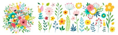 Sticker Beautiful romantic flower collection with roses, leaves, floral bouquets, flower compositions