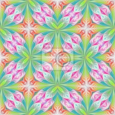 Sticker Beautiful seamless flower pattern in fractal design. Artwork for creative design, art and entertainment.