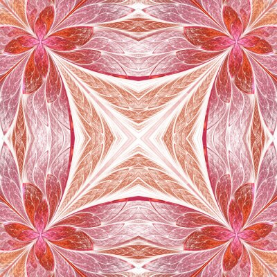 Sticker Beautiful seamless flower pattern in stained-glass window style. You can use it for invitations, notebook covers, phone cases, postcards, cards, wallpapers and so on.