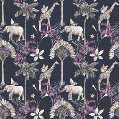 Sticker Beautiful vector african safari animal tropical seamless pattern. Trendy style. Print with elephants and giraffe. Dark background,