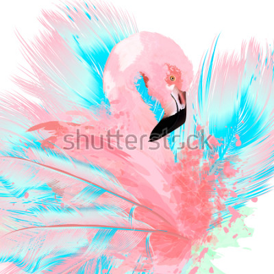 Sticker Beautiful vector illustration with drawn pink flamingo and blue feathers
