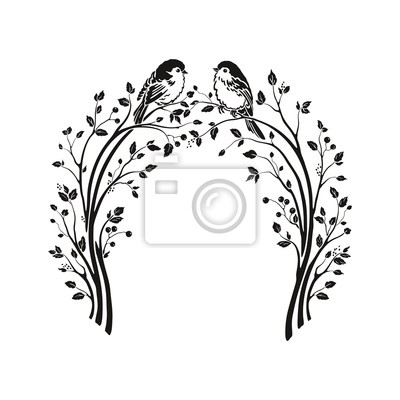 Beautiful wedding arch with tree branches, leaves and small birds. Vector holiday illustration. Floral cute silhouette design.