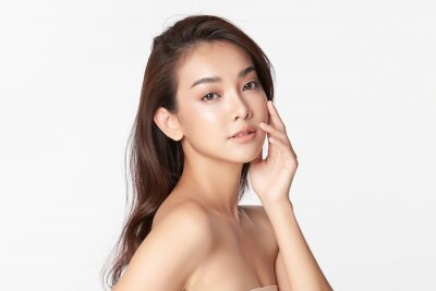 Sticker Beautiful young asian woman with clean fresh skin on white background, Face care, Facial treatment, Cosmetology, beauty and spa, Asian women portrait