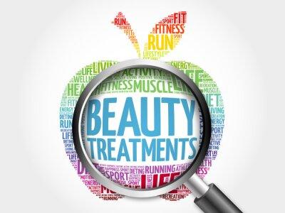 Sticker Beauty-Behandlungen Apfel Wort Wolke mit Lupe, Gesundheit Konzept