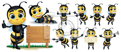 Sticker Bee cartoon Character with 10 poses_Vector Illustration EPS 10