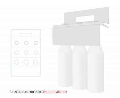 Beer Holder, 3 Pack Cardboard Beer Carrier with die lines. Vector with die cut / laser cut layers. White, clear, blank, isolated Beer Pack on white background. Packaging Design
