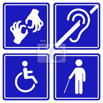 Sticker Behinderte Zeichen Taub Blind Stumm Und Rollstuhl Symbole