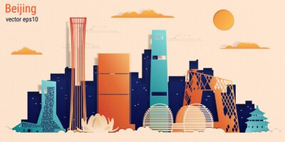Beijing city colorful paper cut style, vector stock illustration. Cityscape with all famous buildings. Skyline Beijing city composition for design.