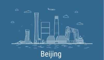 Beijing city, Line Art Vector illustration with all famous buildings. Linear Banner with Showplace. Composition of Modern buildings, Cityscape. Beijing buildings set.