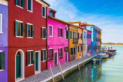 Sticker Bemalte Häuser von Burano, in der Lagune von Venedig, Italien.